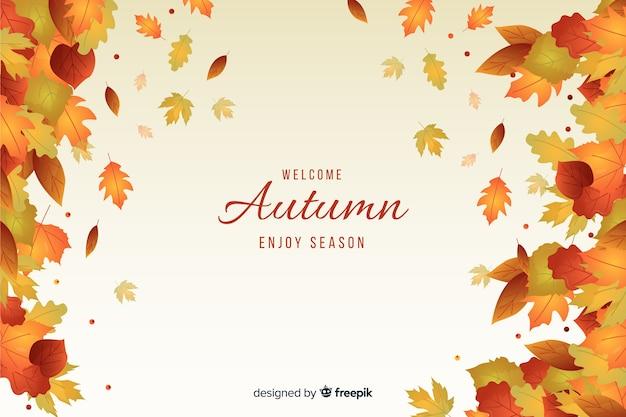 Progettazione piana del fondo delle foglie di autunno Vettore gratuito