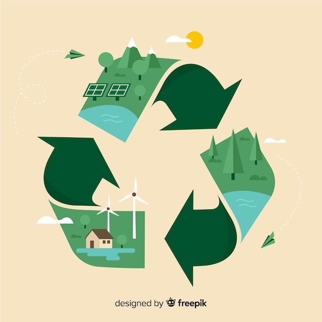 Progettazione piana del fondo di concetto di ecologia Vettore gratuito