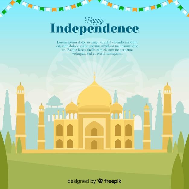 Progettazione piana del fondo di festa dell'indipendenza dell'india Vettore gratuito
