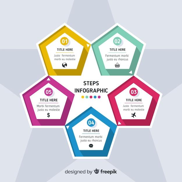 Progettazione piana del modello di punti di infographic Vettore gratuito