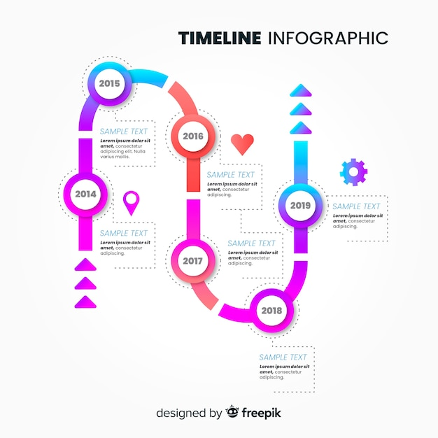 Progettazione piana del modello infographic di cronologia Vettore gratuito