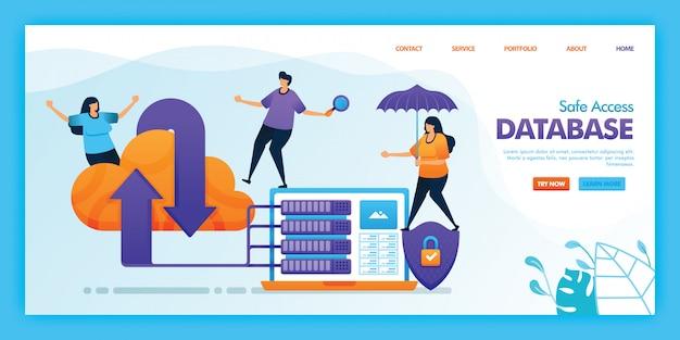 Progettazione piana dell'illustrazione del database di accesso sicuro. Vettore Premium