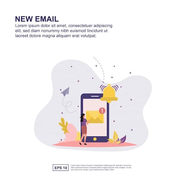 Progettazione piana della nuova illustrazione di vettore di concetto del email per la presentazione. Vettore Premium