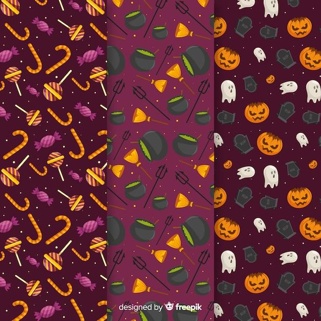 Progettazione piana della raccolta del modello degli elementi di halloween Vettore gratuito