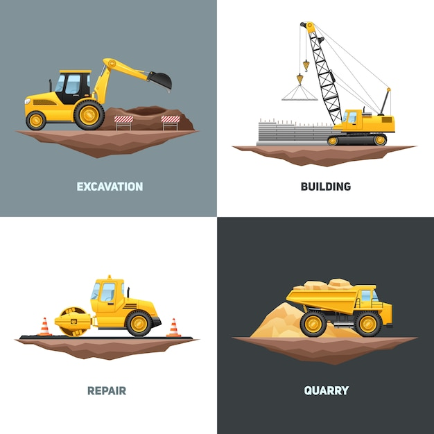 Progettazione piana delle icone del macchinario edile 4 della costruzione con l'escavatore giallo della gru Vettore gratuito