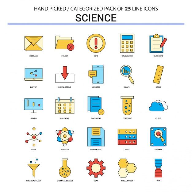 Progettazione piana delle icone di concetto di affari di insieme dell'icona della linea piana di scienza Vettore gratuito