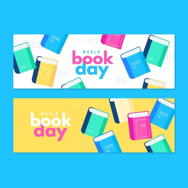 Progettazione piana delle insegne di giorno del libro di mondo di progettazione Vettore gratuito