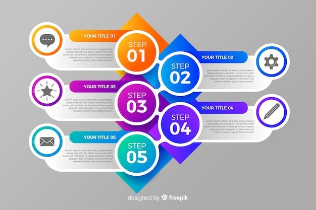 Progettazione piana di punti infographic variopinti Vettore gratuito