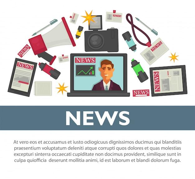 Progettazione piana di vettore del manifesto di notizie degli oggetti di lavoro di professione del giornalista e del reporter della tv Vettore Premium