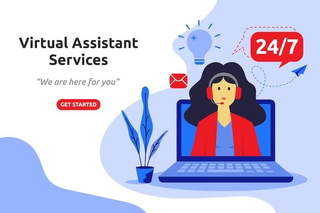 Progettazione piana moderna di concetto di servizi di assistenza virtuale Vettore Premium