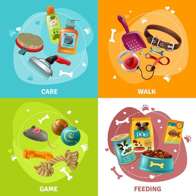 Progettazione quadrata delle icone di concetto di cura di animali 4 Vettore gratuito