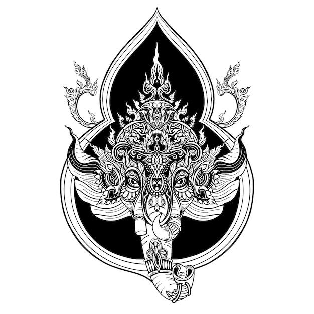 Progettazione religiosa indiana del modello di gurtha chaturthi di festival, illustrazione di vettore Vettore Premium