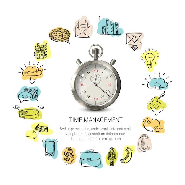Progettazione rotonda di gestione del tempo Vettore gratuito