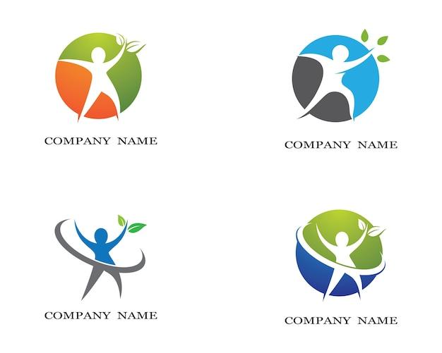 Progettazione sana dell'illustrazione dell'icona di vettore del modello di logo di vita Vettore Premium