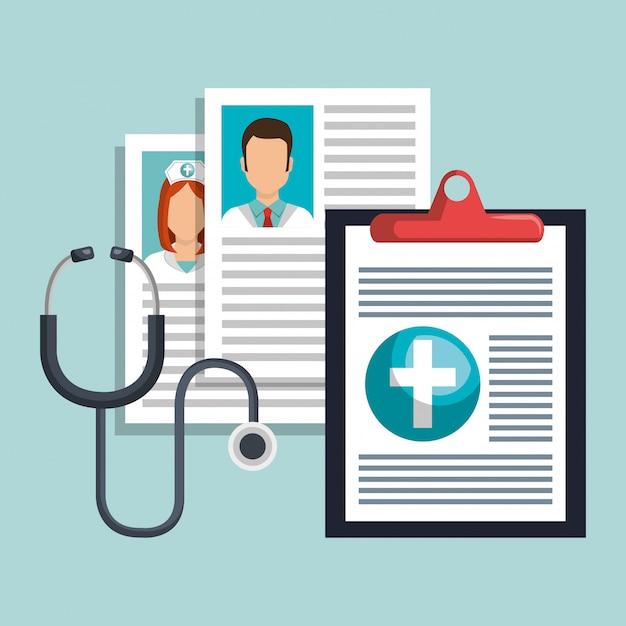 Progettazione sanitaria medica Vettore Premium