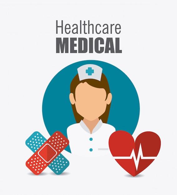 Progettazione sanitaria medica. Vettore Premium