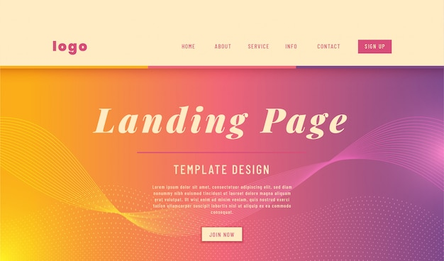 Progettazione semplice del modello web della pagina di atterraggio di stile astratto. Vettore Premium