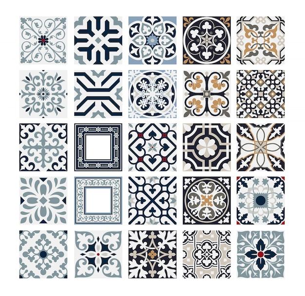 Progettazione senza cuciture antica dei modelli portoghesi d'annata delle mattonelle nell'illustrazione di vettore Vettore Premium