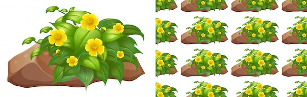 Progettazione senza cuciture del fondo con i fiori gialli sulla pietra Vettore gratuito