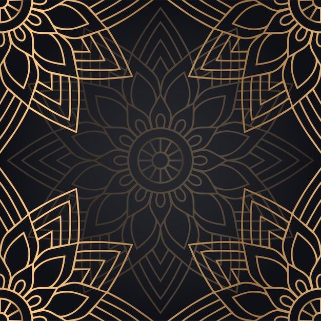 Progettazione senza cuciture del fondo del modello della mandala nel colore nero e dorato Vettore gratuito