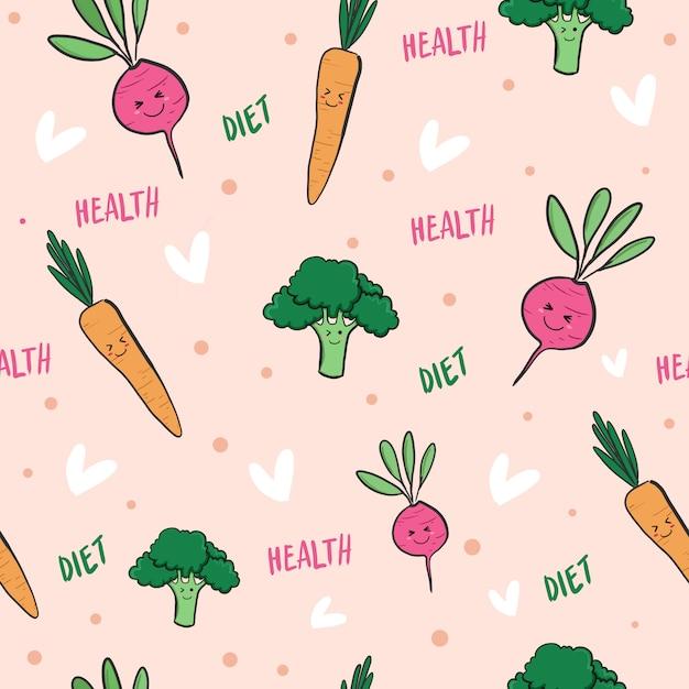 Progettazione senza cuciture di verdure del modello di scarabocchio di dieta di salute Vettore Premium
