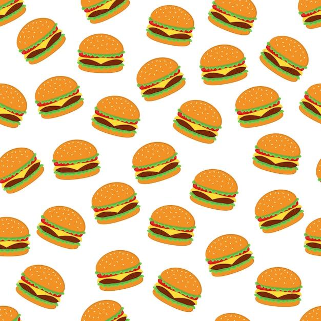Progettazione senza cuciture di vettore del fondo del modello dell'hamburger Vettore Premium