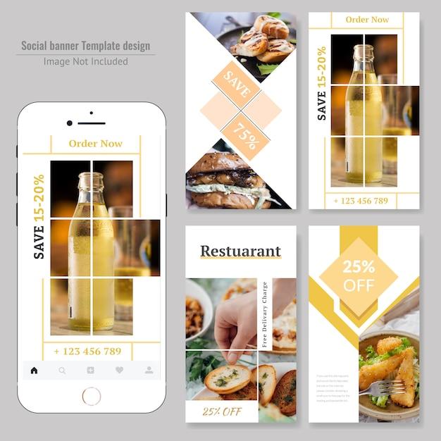 Progettazione sociale dell'insegna dell'alimento per il ristorante Vettore Premium