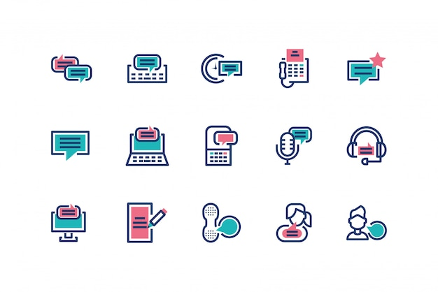 Progettazione stabilita dell'icona isolata dei messaggi Vettore Premium
