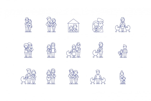 Progettazione stabilita isolata dell'icona dei cartoni animati della famiglia Vettore Premium