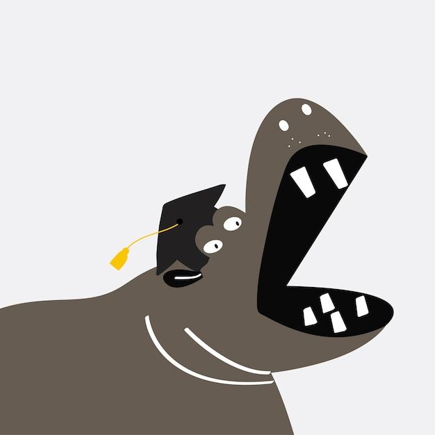 Progettazione sveglia di vettore del fumetto dell'ippopotamo Vettore gratuito