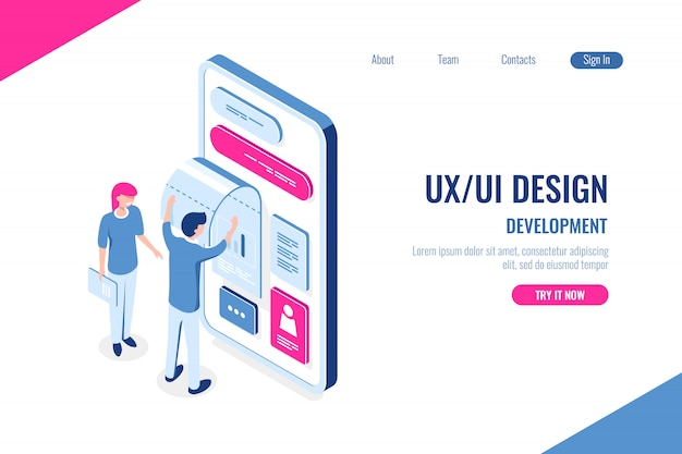 Progettazione ux / ui, sviluppo Vettore gratuito