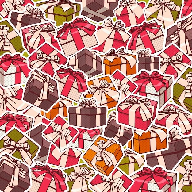 Progettazione variopinta del fondo di festa dei nastri di archi rossi e di contenitori di regalo Vettore Premium