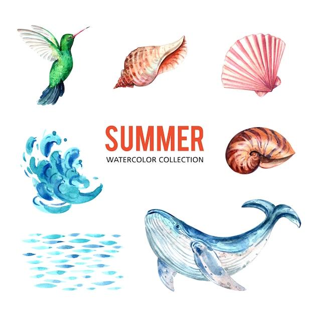 Progetti l'elemento con l'acquerello, illustrazione creativa di vettore di tema del sealife. Vettore gratuito