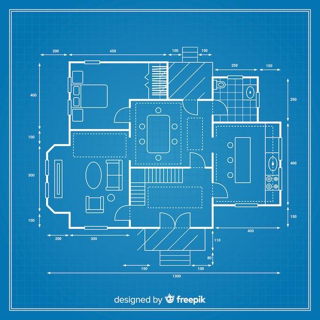 Progetto dettagliato di un progetto per una casa Vettore gratuito