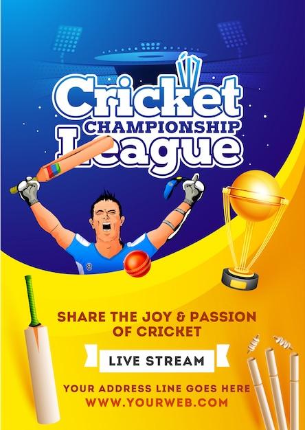 Progetto di poster o flyer di live stream cricket championship league. Vettore Premium