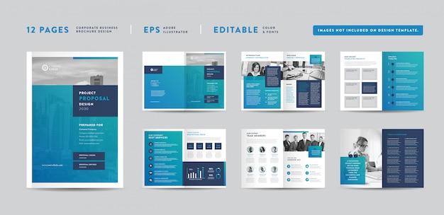 Progetto di proposta di progetto di affari corporativi | rapporto annuale e brochure aziendale progettazione di opuscoli e cataloghi Vettore Premium