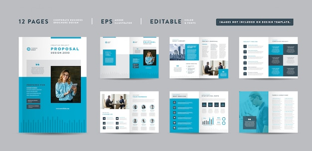 Progetto di proposta di progetto di affari corporativi   rapporto annuale e brochure aziendale progettazione di opuscoli e cataloghi Vettore Premium