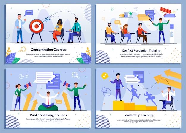 Programma educativo per gli uomini d'affari banner set Vettore Premium