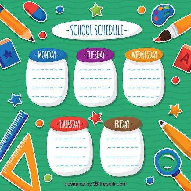 Programma scolastico divertente con i materiali scolastici Vettore gratuito
