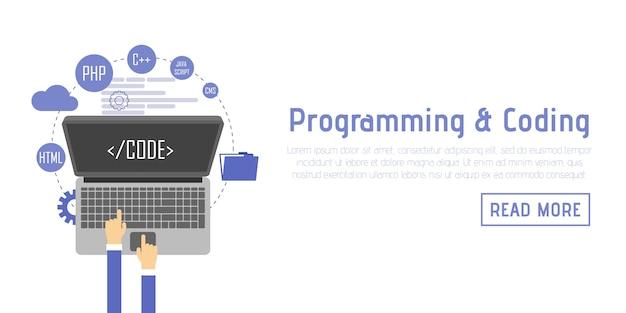 Programmatore allo scrittorio del computer che lavora al programma. concetto di software. design piatto di illustrazione vettoriale uomo che lavora al desktop desktop Vettore Premium