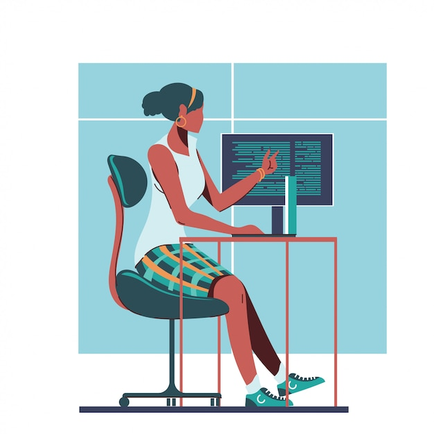 Programmatore donna o concetto di sviluppo del programma femminile Vettore Premium