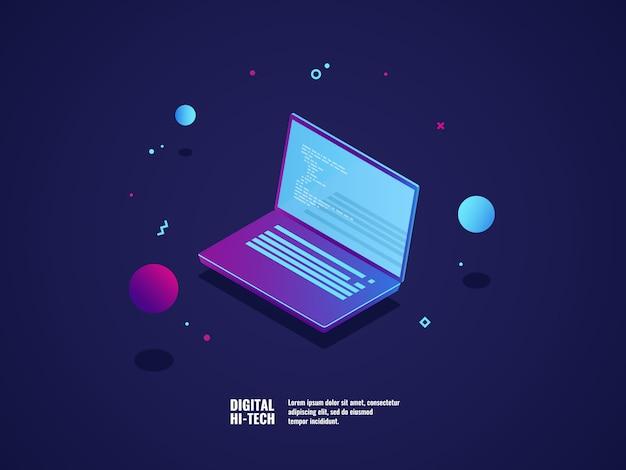 Programmazione del concetto di sviluppo di applicazioni e software, laptop con codice di programma Vettore gratuito