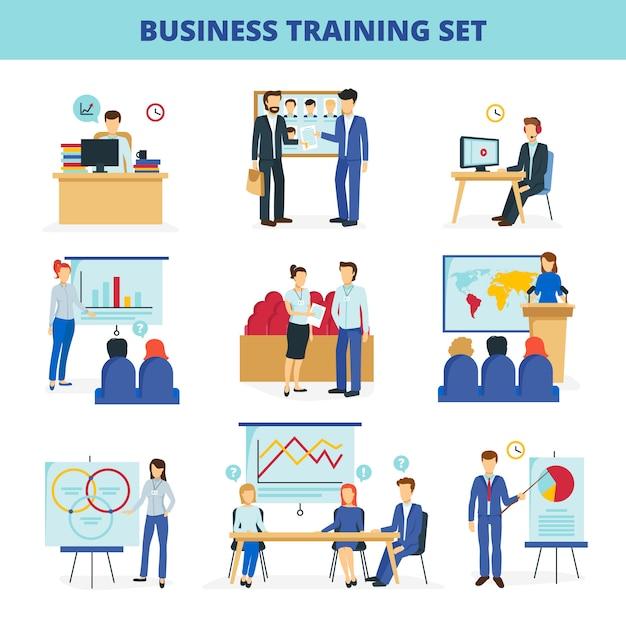 Programmi di formazione aziendale e di consulenza aziendale per una leadership e innovazione efficaci Vettore gratuito