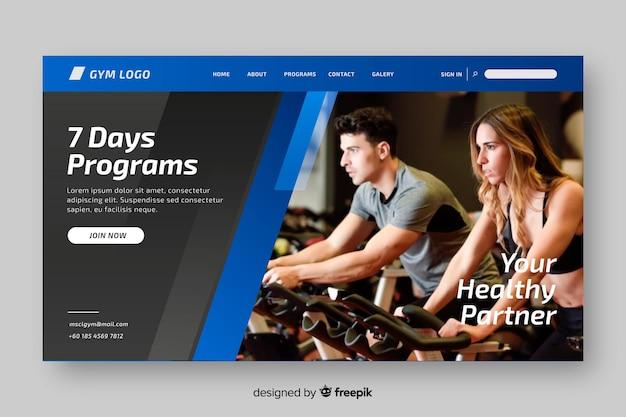 Programmi sport landing page con foto Vettore gratuito