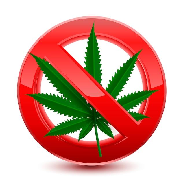 Proibito nessun segno rosso di marijuana Vettore Premium