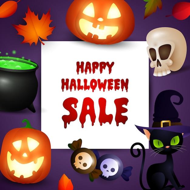 Promo di vendita di halloween felice con simboli di festa Vettore gratuito