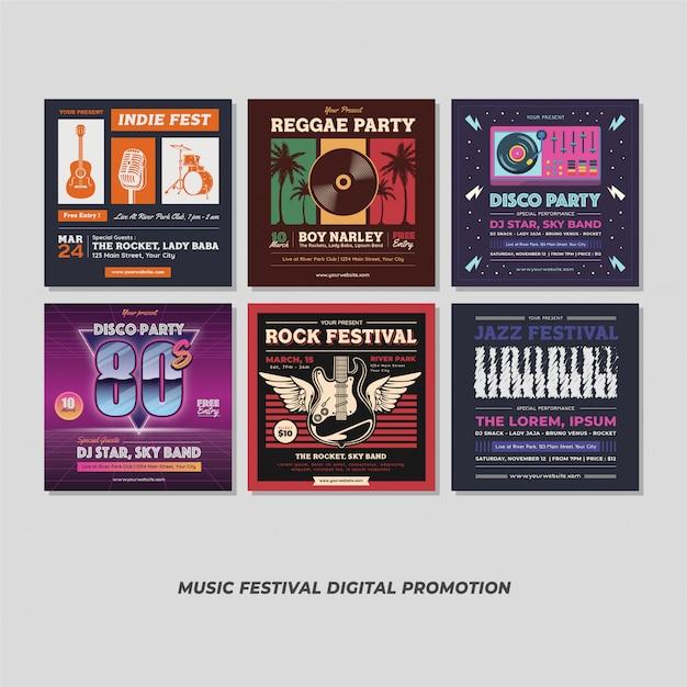 Promozione digitale di music party event festival Vettore Premium