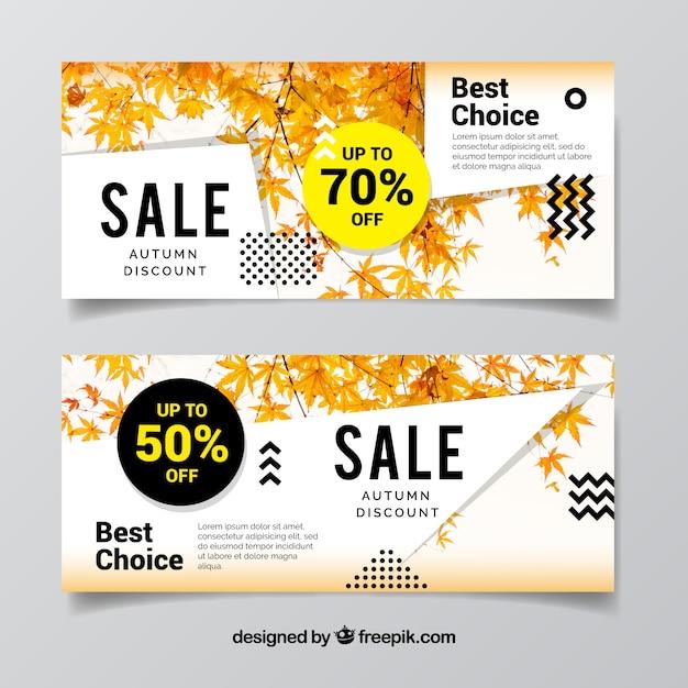 Promozioni banner per autunno, stile moderno Vettore gratuito