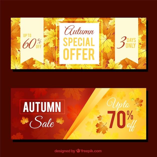Promozioni banner per autunno, stile realistico Vettore gratuito