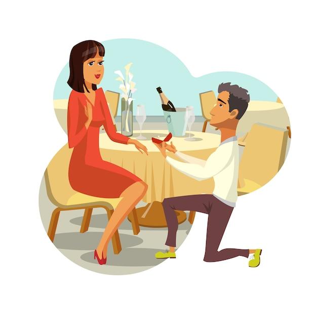 Proposta di matrimonio Vettore Premium